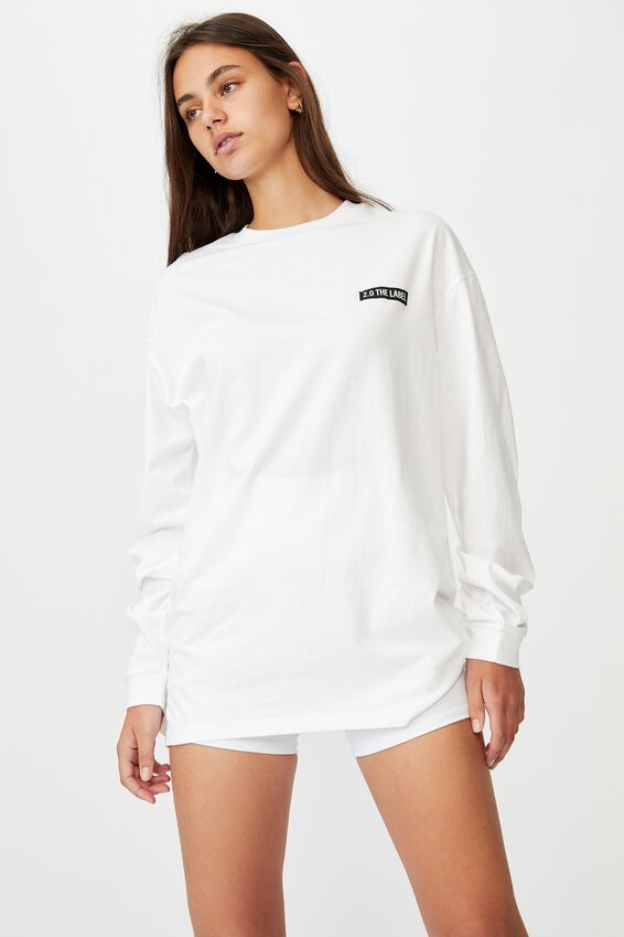 Super Oversized Ls Graphic Tee, WHITE/ 2.0 THE LABEL