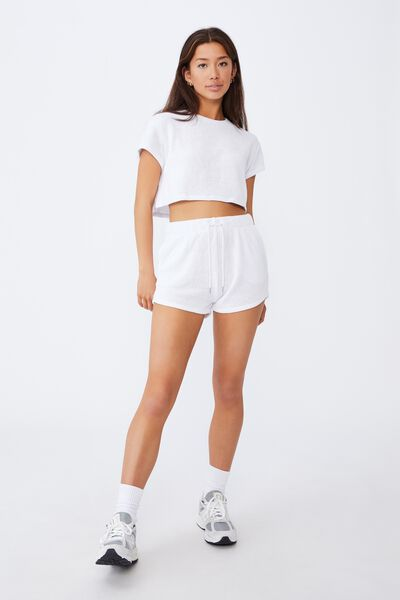 Textured Jersey Pull On Sporty Short, WHITE
