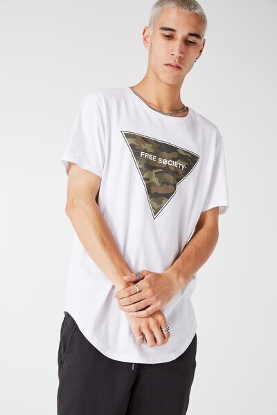 Curved Tail Tee, WHITE/FREE SOCIETY