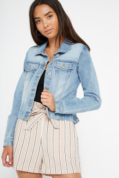 Girlfriend Denim Jacket, SKYWAY BLUE