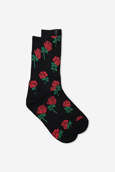 Retro Ribbed Socks, BLACK ROSE_YARDAGE
