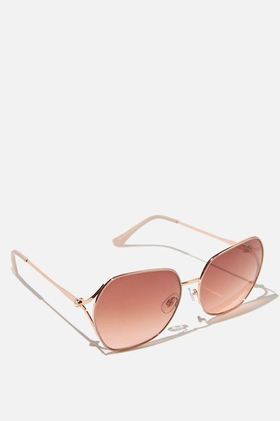 Aria Angle Sunglasses, ROSE GOLD