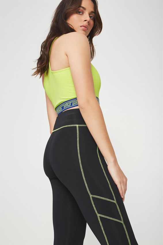 Colour Stitch Panelled Legging, BLACK_NEON STITCH