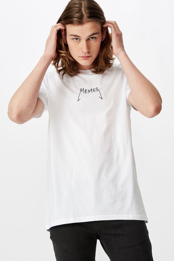 Slim Graphic T Shirt, WHITE/METAL MEMES