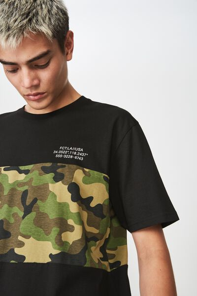 Oversized Spliced T Shirt, CAMO/BLACK SPLICE
