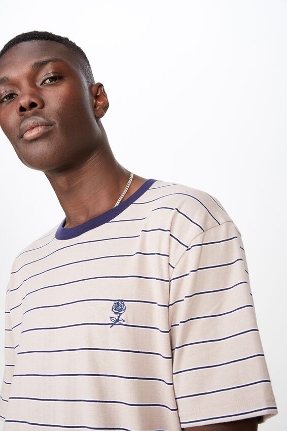 Classic Embroided Stripe T Shirt, SPHINX/MULTI STRIPE