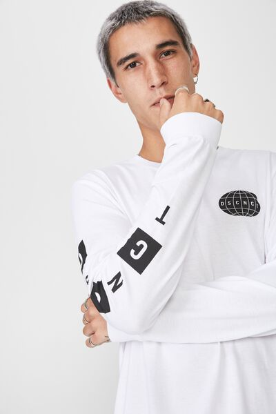 Slim Long Sleeve Graphic T Shirt, WHITE/DROPOUT