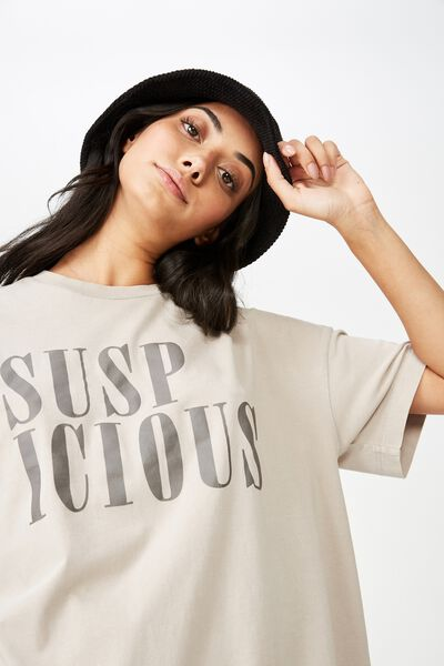 Washed Graphic T Shirt, WHITE TRUFFLE_SUSPICIOUS