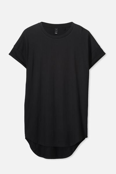 Curved Roll Tee, BLACK