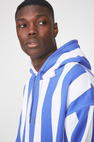 Vertical Stripe Hoodie, BAJA BLUE/WHITE STRIPE