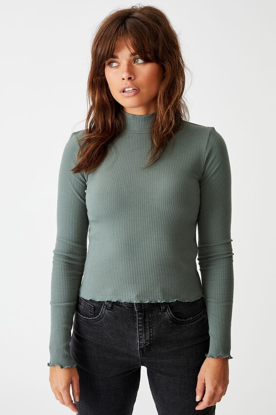 Rib Lettuce Edge Long Sleeve, FOREST KHAKI