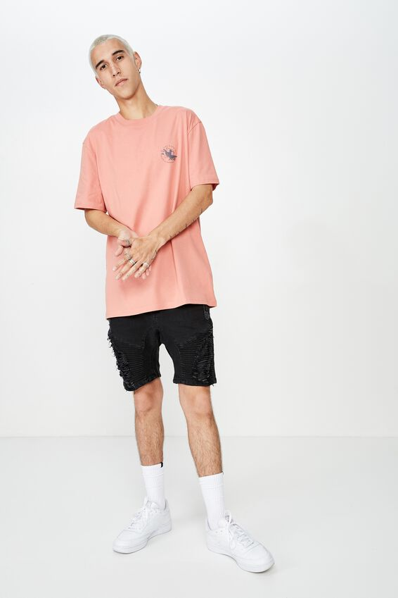 Regular Graphic T Shirt, WASHED CORAL/REAPER