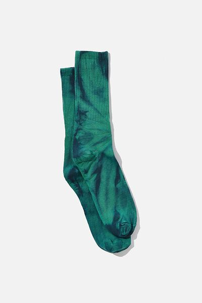 Retro Ribbed Socks, GREEN TIE DYE