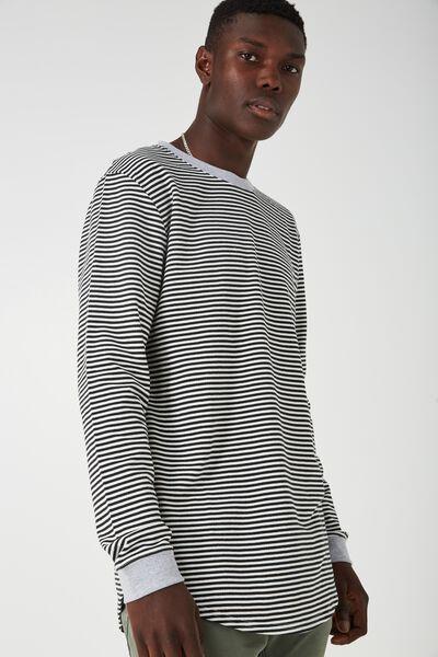Ls Curved Stripe Top, STRIPE