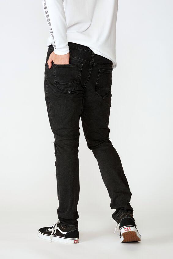 Skinny Leg Denim Jean, WASHED BLACK