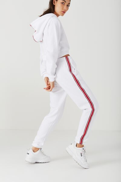 Trenton Trackpant, OPTIC WHITE_RED AND WHT