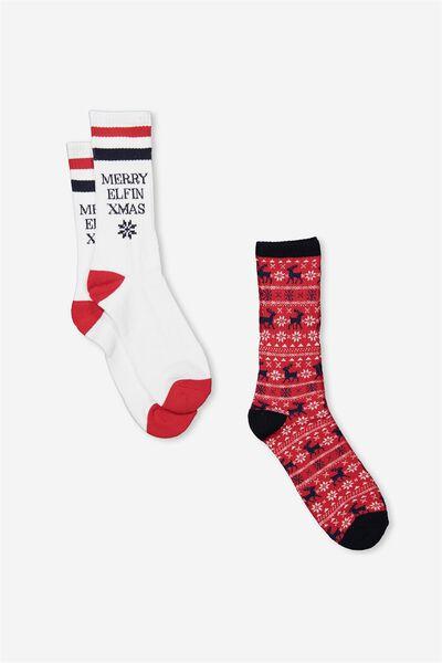 2Pk Xmas Socks, MULTI RED_ELFIN WHITE