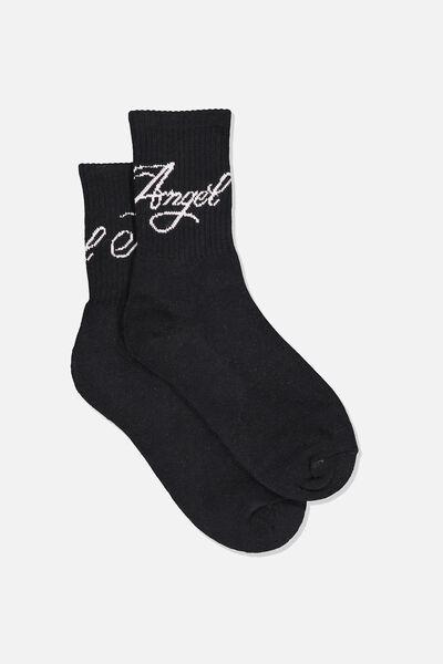 Retro Sport Sock, BLK_NO ANGEL