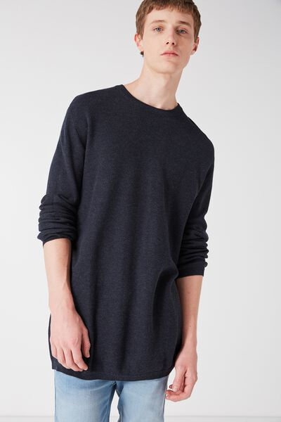 Mixed Crew Knit, NAVY MARLE HC