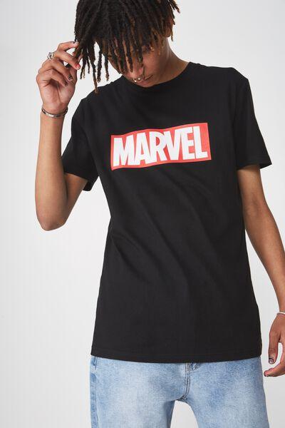 Licensed Print T Shirt, BLACK/MARVEL