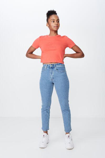High Rise Straight Leg Jean, 90's BLUE