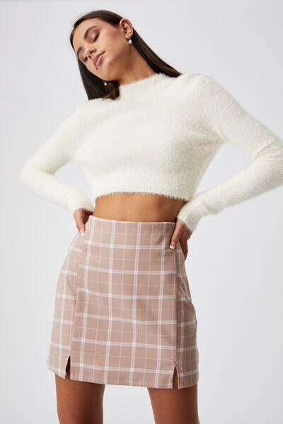 Double Split Mini Skirt, TAYA CHECK FAWN