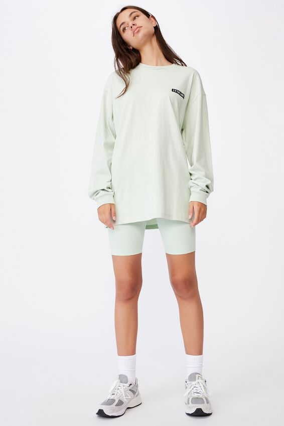Super Oversized Ls Graphic Tee, CELADON/2.0 THE LABEL