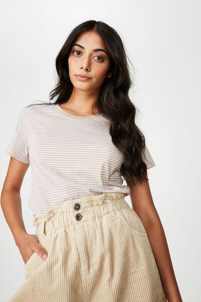 Basic T Shirt Stripe, FRANKIE STRIPE_LATTE