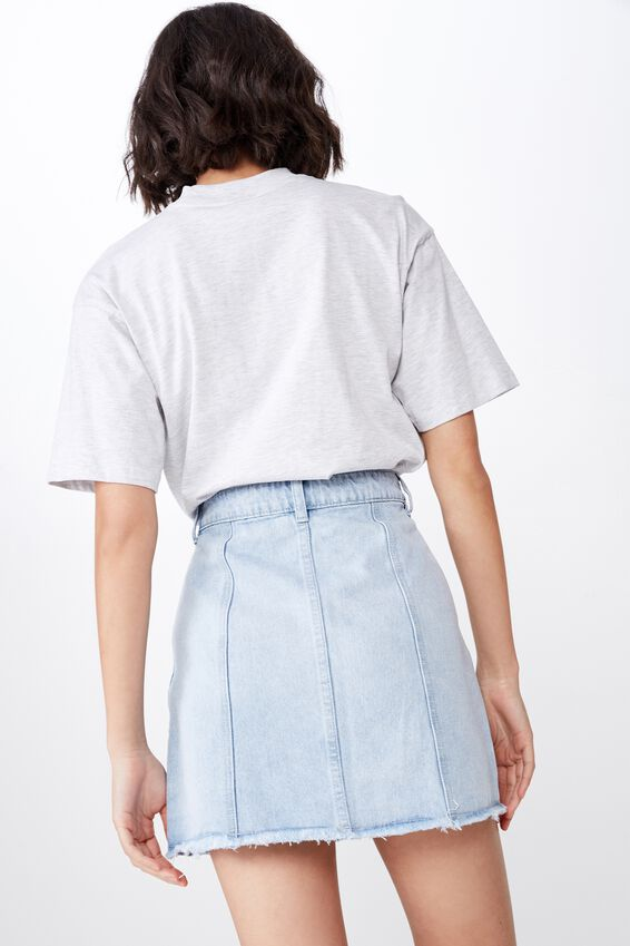Button Thru Denim Skirt, BLEACH BLUE