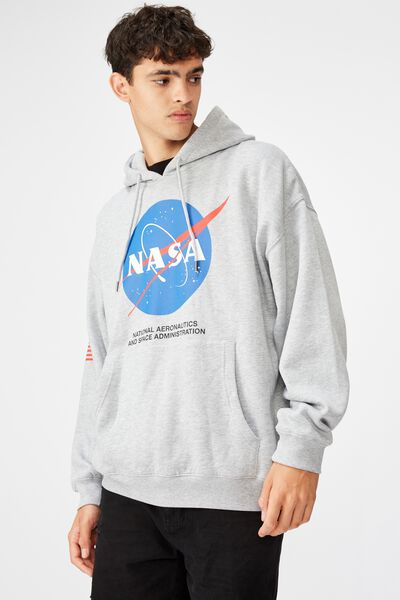 License Oversized Graphic Hoodie, GREY MARLE/NASA