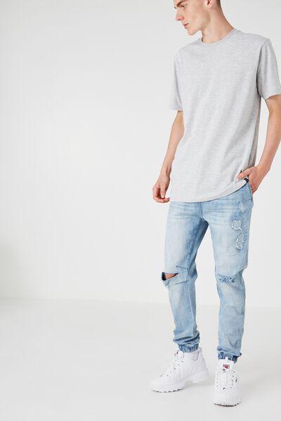 Slim Cuffed Denim Jeans, BLUE BLAST WORN