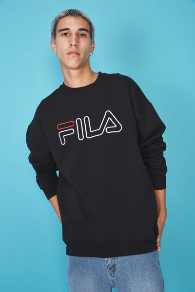 Fila Lcn Oversized Embroidered Crew, BLACK