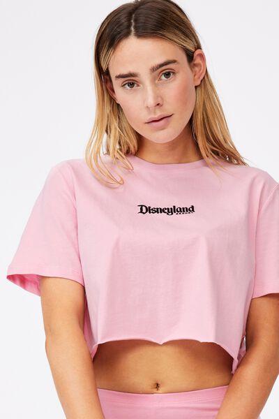 Lcn Raw Edge Graphic T Shirt, LCN DIS BABE PINK/DISNEYLAND