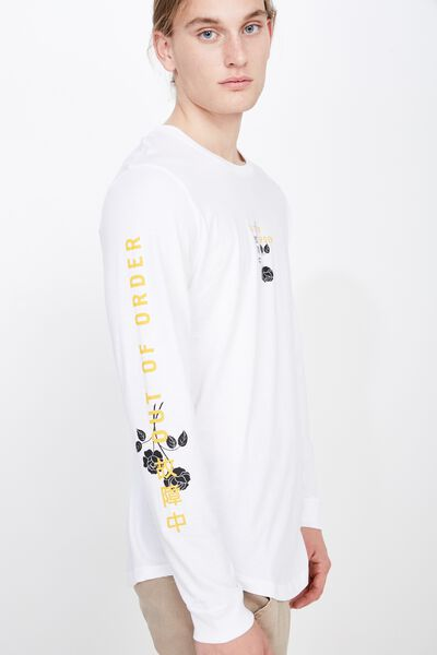 Curved Long Sleeve Graphic T Shirt, WHITE/OUT OF ORDER