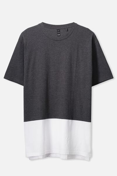Split Tee, CHARCOAL MARLE/WHITE
