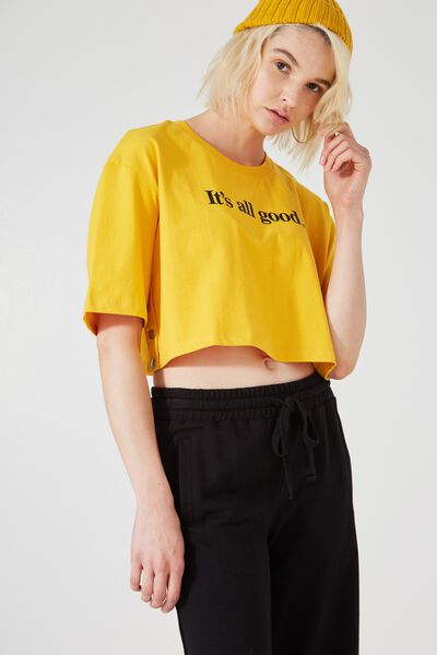 Boxy Popper Side Tee, ITS ALL GOOD_OLD GOLD