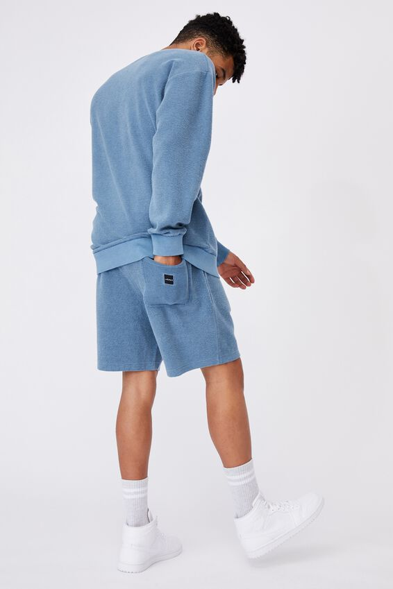 Reverse Fleece Track Short, WASHED CHALK BLUE