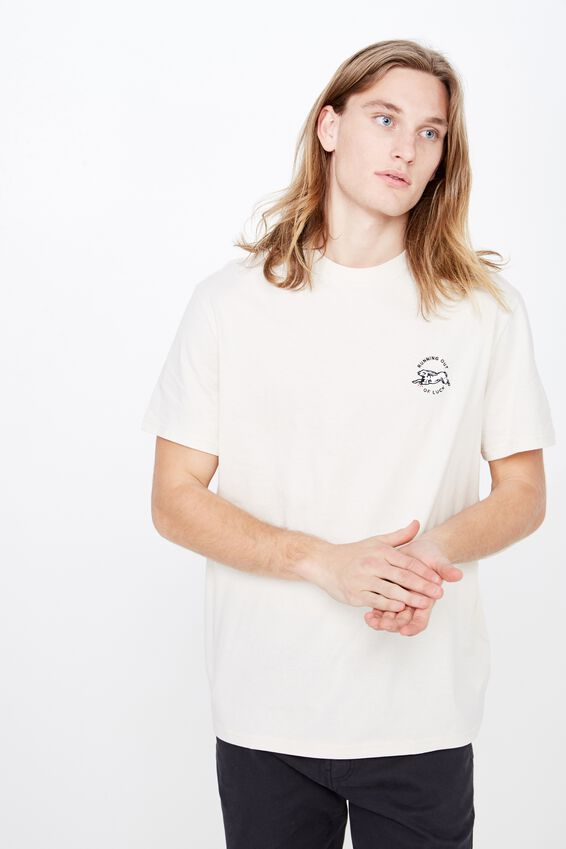 Regular Embroidered T Shirt, IVORY/OUT OF LUCK