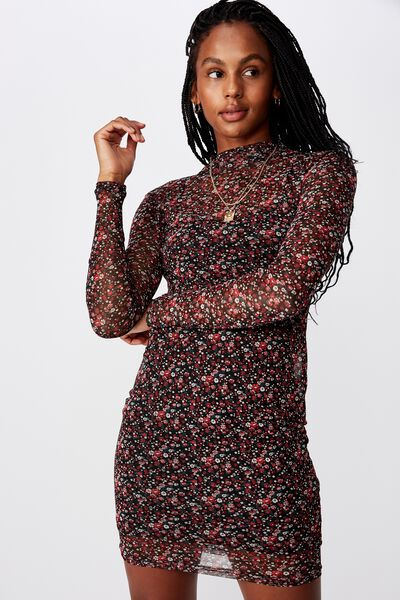 Mesh Ls Funnel Neck Dress, RORY DITSY_BLACK