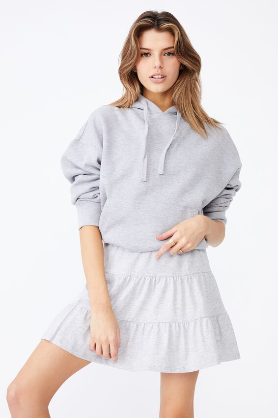 Jersey Tiered Skirt, GREY MARLE