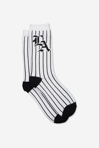 Jersey Sock, LA WHITE/BLACK STRIPE