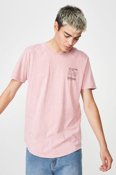 Curved Graphic T Shirt, WASHED DUSTY PINK/ALL SEEING