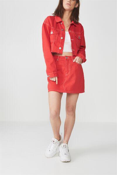 Classic Denim Skirt, LYCHEE_WHITE