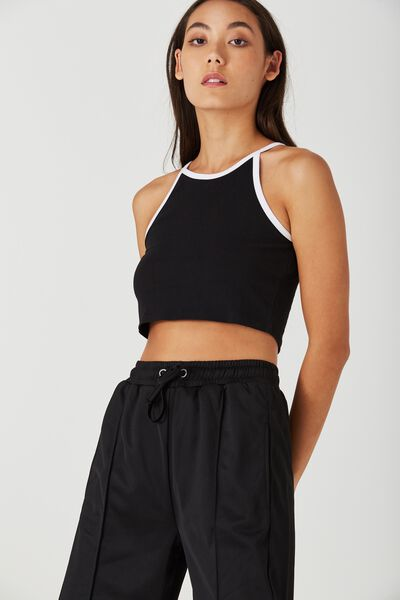 So Soft High Neck Crop, BLACK WITH WHITE BINDING