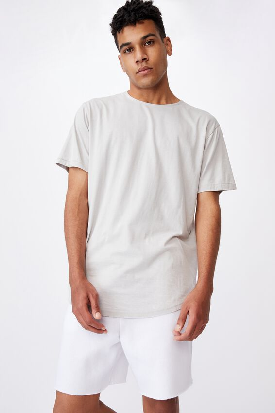 Longline Curved Washed T Shirt, MICROCHIP GREY