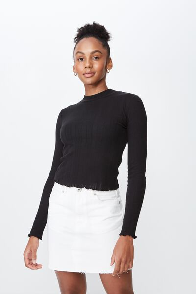 Ls Pointelle Lettuce Edge Funnel Neck, BLACK