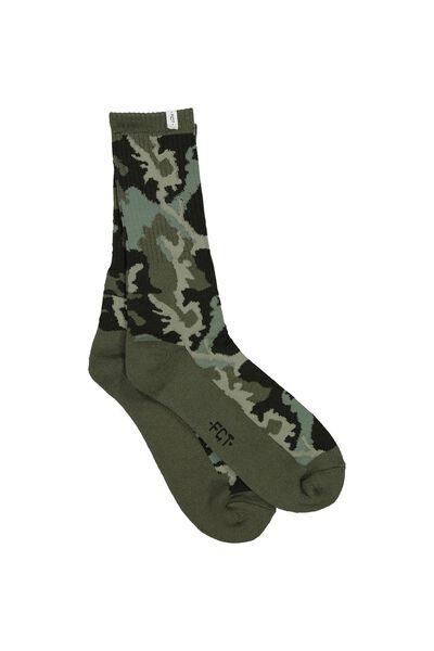 Retro Ribbed Socks, CAMO - KHAKI