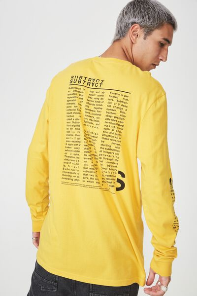 Slim Long Sleeve Graphic T Shirt, GOLDEN ROD/SUBTRACTION