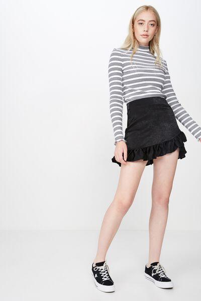 Satin Ruffle Skirt, BLACK