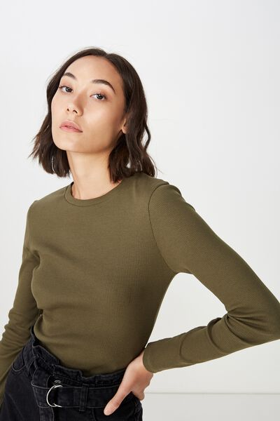 Long Sleeve Rib T Shirt, WINTER MOSS